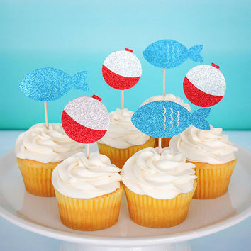 Fishing Party Cupcake Toppers The Big One Toppers First Birthday Cupcake Toppers Fishing Birthday Decorations Big One Fishing Theme