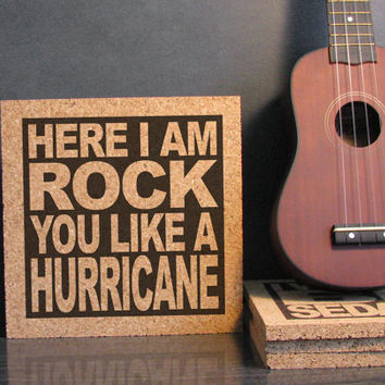 THE SCORPIONS band - Here I Am Rock You Like A Hurricane - Cork Lyric Wall Art and Hot Pad Trivet - Kitchen Decor Office Decor Bathroom Art
