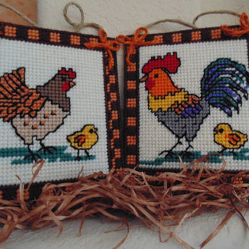 Wall Plaques SET Of TWO Needlepoint Hen Rooster Chick Kitchen Decor Barnyard Art