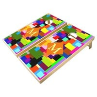 Colorful Patchwork Layers Modern Abstract Monogram Cornhole Set