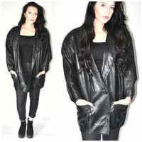 long black LEATHER jacket vintage 80s 90s COCOON coat long black bat wing BLAZER cardigan os