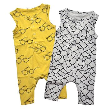 Baby Rompers Tiny Cottons Newborn Boys Romper Girls Clothes Glasses Print Summer Clothing 2017 Sleeveless Jumpsuit Bobo Choose
