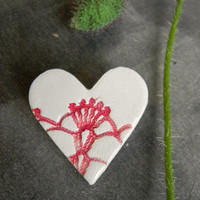 Lace Ceramic Heart Brooch, White Red Pottery Jewelry, Romantic Design, Accessories