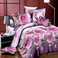 New Style White Red Flower 3D Bedding Set of Duvet Cover Bed Sheet Pillowcase Bed Clothes Comforters Cover Queen No Quilt