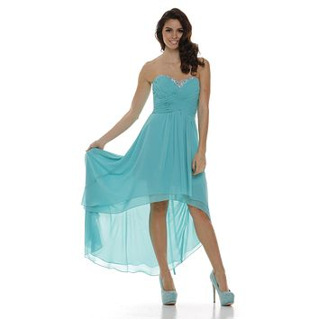 Ruched Corset Bodice Strapless High Low Jade Cocktail Dress