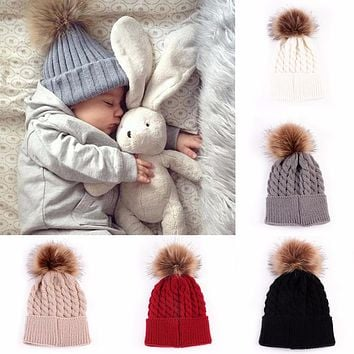 Puseky Newborn Cute Winter Baby Hat Fur Ball Pompom Cap Kids Girl Boy Winter Knitted Wool Hat Caps for Girls Hemming Hat Beanies