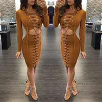 Long Sleeve Cutout Lace-Up Bodycon Dress