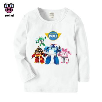 Super Mario party nes switch Kid's Long Sleeve Robocar Poli Cartoon Printed T Shirt Boys Girls Autumn Harajuku Casual Winter Tops Kids Cute T-Shirt AT_80_8