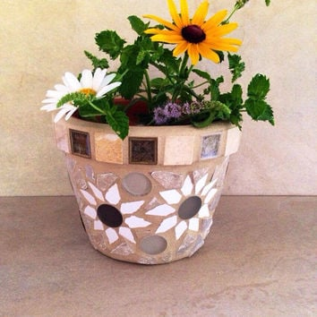 Mosaic flower pot, indoor kitchen planter, outdoor planter, plant storage, handmade mosaic garden art, mosaic planter, small indoor planter