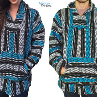Mexican Threads Unisex Baja Hoodie Drug Rug Pullover Sweatshirt / Gypsy Jacket / Hippie Poncho Turquoise S-XXL