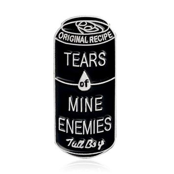 Tears of mine enemies Brooch Black Cans Pin Denim jacket Shirt Collar Lapel Pin Buckle Badge Gothic Jewelry for Kids Girls Boys