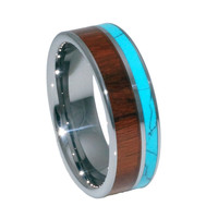 Turquoise, Hawaii KOA Inlay tungsten Wedding Bands 8mm for man