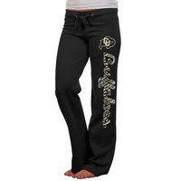 Colorado Buffaloes Ladies Animal Print Rugby Fleece Sweatpants - Black