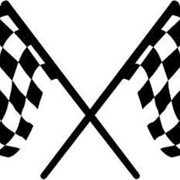 Checkered Racing Flag Logo Vinyl Sticker Decal Car Truck Windon Wall Laptop notebook