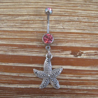 Belly Button Ring - Body Jewelry - Silver Starfish with Double Light Pink Gem Stone Belly Button Ring