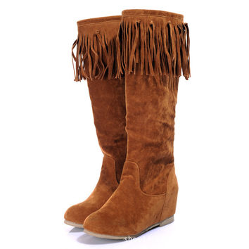 Round Head Increased Tassels High Boots