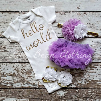 Baby Girl Take Home Outfit Newborn Baby Girl Hello World Onesuit Lavender Bloomers Lavender & White Gold Headband Sandals Set