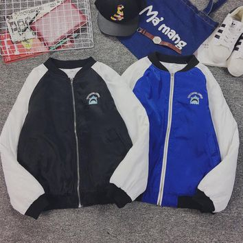 Ulzzang winter coat color female embroidery shark head lovers fitted cotton thick baseball clothes tide male Black