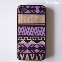 iphone 4 case - geometric art on wood print - purple