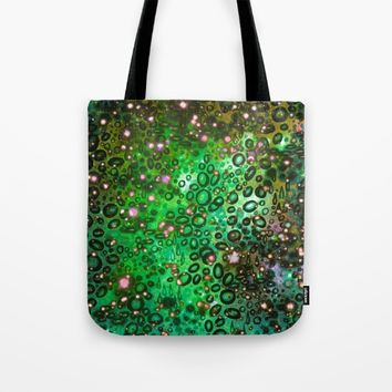 RAINBOW DOTTY OCEAN 3 Green Lime Ombre Space Galaxy Colorful Polka Dot Bubbles Abstract Painting Art Tote Bag by EbiEmporium