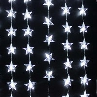 AGPTEK® 1mx1.5m White 50 LED Star Curtain String Light for Halloween Christmas Party Wedding Birthday Holiday Home/ Outdoor Decoration, 8 Lights Flashing Modes with Control Box