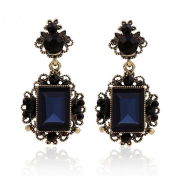 New fashion dark blue color big crystal vintage drop earrings for women dangling earrings