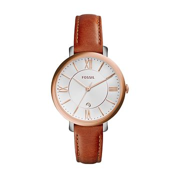 Jacqueline Date Leather Watch, Brown | FOSSIL