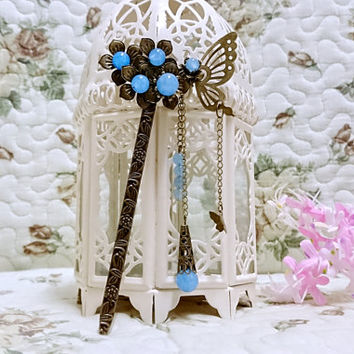 Bookmark handmade metal flower hair stick vintage blue bead  bronz gift for her traditional Asian style Chinese  birthday valentine gift