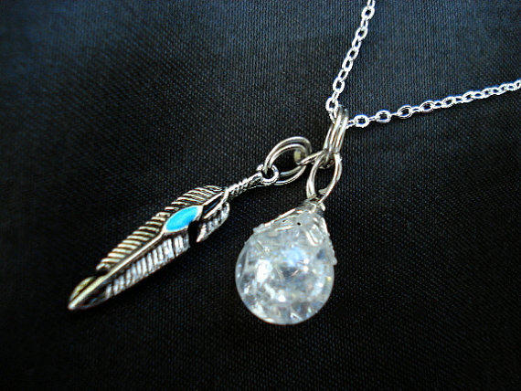 Turquoise Feather Crystal Crackle Glass Boho Dangle Necklace