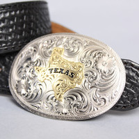 80s TEXAS Silver BELT BUCKLE / Engraved Western Montana Silversmiths Buckle