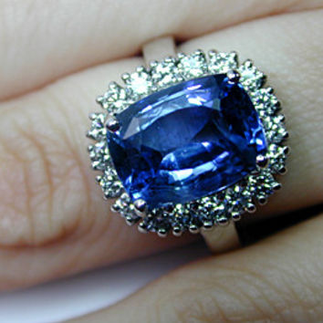5.92ct Cushion Cut Sapphire Diamond Engagement Ring 18kt White Gold JEWELFORME BLUE