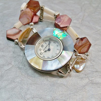 Interchangeable Watch Band and Watch, Mother of Pearl Watch Face, Beaded Watch, Double Strand Watch, Stretch Band Watch