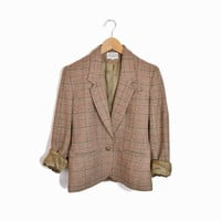 Vintage Brown Tweed Wool Blazer Jacket - women's s/m