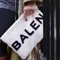 ONETOW Balenciaga' Casual Simple All-match Fashion Letter Logo Plush Women Zip Clutch Envelope Bag