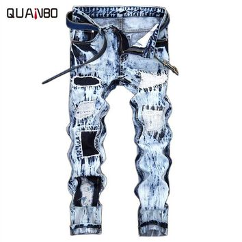 Four seasons can wear Fear Of God Men Jeans Washed Ripped Casual Jeans Embroidery Hole ripped jeans  Fashion Man Brand Jeans