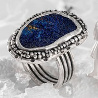 Druzy Azurite Ring, Statement Ring, Natural Color, Azurite Ring Sterling Silver, Handmade Ring, Crystals Sterling Silver