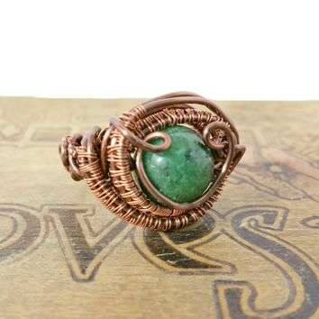 Boho Gemstone Ring, Wire Wrapped Ring, Copper Wire Wrapped Jewelry, Mens