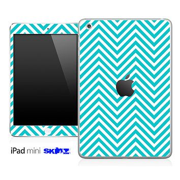 Blue/White Sharp Chevron Pattern Skin for the iPad Mini or Other iPad Versions