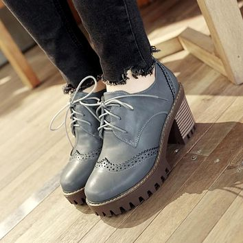 Lace Up Chunky High Heel Oxford Shoes for Women 4594