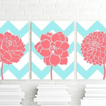 CHEVRON Flower Wall Art, CANVAS or Prints Aqua CORAL Nursery, Bathroom Decor, Coral Bedroom Wall Decor, Flower Dahlia Set of 3 Home Decor