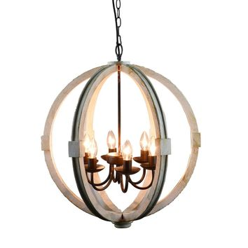 Calder Wooden Orb Shape Chandelier With Metal Chain And Six Bulb Holders, White