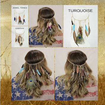 Boho Turquoise Braided Feather and Bead Head Wrap Hair Ties