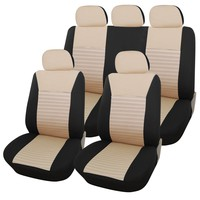 Adeco 9-Piece Car Vehicle Protective Seat Covers, Universal Fit, Black/Beige Mesh