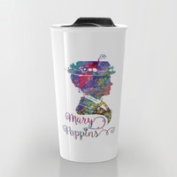 Mary Poppins Portrait Silhouette Travel Mug by Bitter Moon