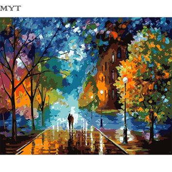 Rural Landscape Painting by Number DIY Oil Paint 40X50CM Canvas Art Lovers Walks In the Street Oil Painting Home Decor Gift