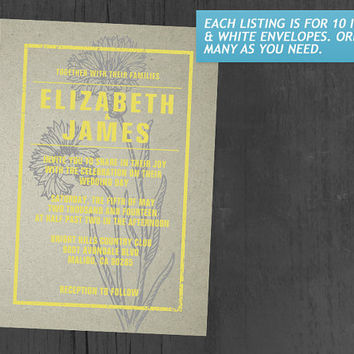 Rustic Yellow Wedding Invitations | Invites | Invitation Cards