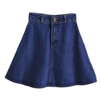 ROMWE High Waist Blue Denim A-line Skirt