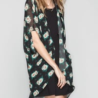 Full Tilt Daisy Print Womens Kimono Duster Black Combo  In Sizes