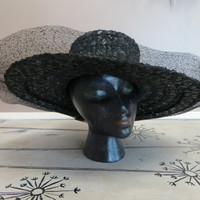 Black Hat Large Hat Womens Hat Woven Hat Sun Hat Mr John Jr Ladies Hat Vintage Hat Retro Hat 1950s Hat Black Ladies Hat Party Hat  Wide Brim