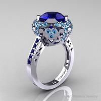 Modern Edwardian 10K White Gold Blue Sapphire Blue Topaz Engagement Ring Wedding Ring Y404-10KWGBTBS